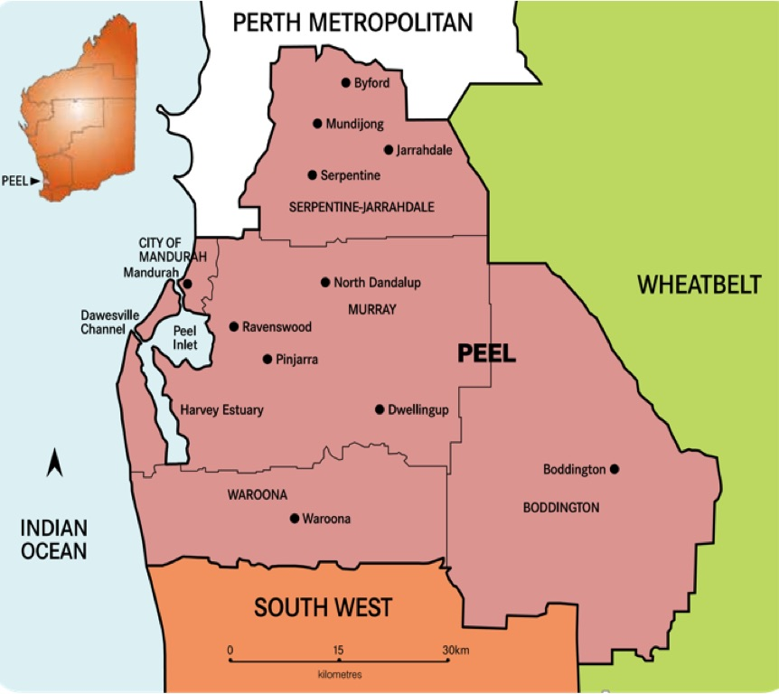 Map of Region Peel Development Commission