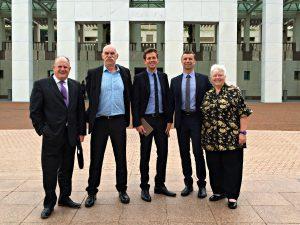 Transform Peel Canberra Delegates: Paul Fitzpatrick, John Lambrecht, Rhys Williams, Andrew Ward and Paddi Creevey.