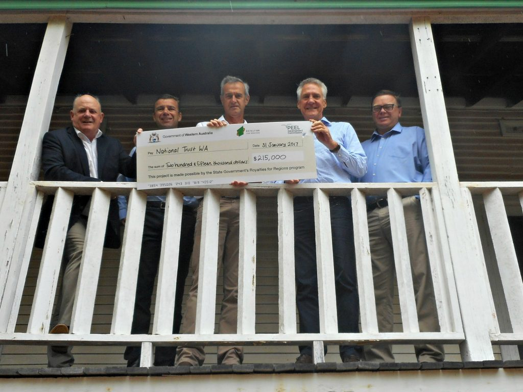 Pictured at the Mill Manager House are Paul Fitzpatrick PDC Chair, Andrew Ward PDC CEO, Tony Simpson MLA, National Trust CEO Julian Donaldson, Cr John Erren, Shire President